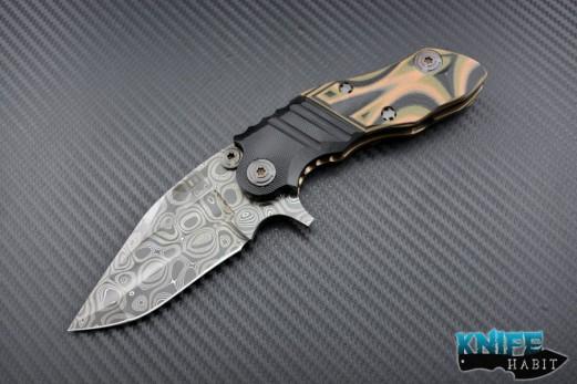 custom mikkel willumsen CWC knife, damascus blade steel, titanium and g10 scales