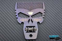 custom beard comb by Darrel Ralph and Punisher Tool multi-tool, with hex screw driver bit, battleworn finish