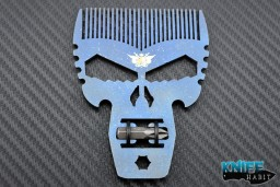 custom beard comb by Darrel Ralph and Punisher Tool multi-tool, with hex screw driver bit, midnight finish
