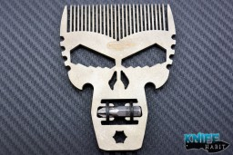 custom beard comb by Darrel Ralph and Punisher Tool multi-tool, with hex screw driver bit, platinum finish