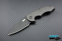 mid-tech Jason Brous Blades collaboration with Sal Manaro Sinner knife, carbon fiber scales, blackout finish D2 blade steel,