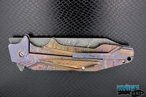custom gtc tanto plasma knife, full zircuti frame, chad nichols san mai damascus blade
