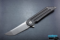 mid-tech jake hoback carbon fiber kwaiback uhep knife, stonewashed blade finish, titanium lock side with carbon fiber inlay, cts-xhp blade steel