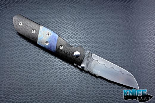 custom denis budak croat knife, carbon fiber scales, blue anodized titanium inlays, titanium liner, 1095 blade steel with hamon
