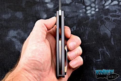 custom kirby lambert mgt crossroads knife, mokuti bolster clip, zircuti back spacer, marbled carbon fiber, satin 6k satellite blade steel