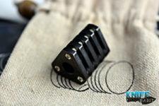 custom chris warden knife bead, zirconium, tritium, tricolour