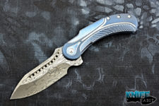 semi-custom todd begg field marshall knife, blue and silver titanium, grosserosen damasteel blade
