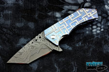 custom sergey rogovets t2 full dress knife, mokuti frame-lock, zirconium clip, copper back spacer, san mai damascus blade steel