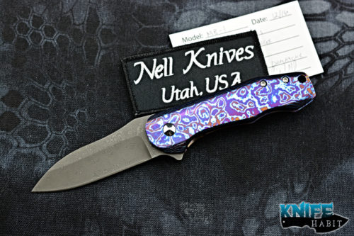 custom chad nell mb-1 knife, moire timascus frame lock handle, damascus blade steel