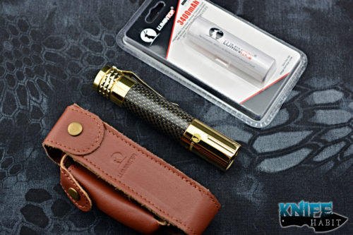 edc lumintop BrassPrince flashlight, rechargeable 18650 battery, best edc flashlight, stainless steel, light strike carbon fiber