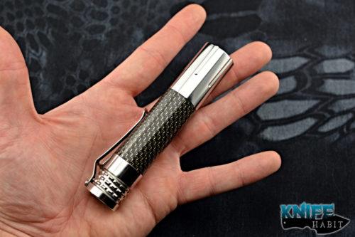 edc lumintop Prince SS flashlight, rechargeable 18650 battery, best edc flashlight, stainless steel, light strike carbon fiber