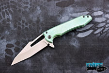 semi-custom midtech gavko hybrid mako v2 knife, green anodized titanium handle, cpm 154 blade steel
