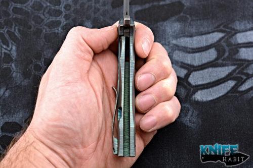 custom gavko knives thick spinner 2.0 knife, teal anodized titanium, aeb-l blade steel