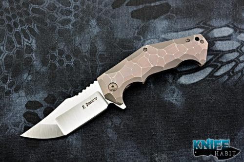 custom randy doucette serpent frame-lock knife, sculpted purple bronze titanium, s35vn blade steel