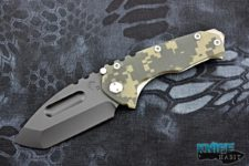semi custom greg medford praetorian g/t knife, black pvd d2 blade, digital camo g10, titanium