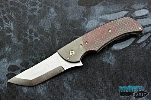 custom pohan leu negligence flipper knife, zirconium bolster, red light strike carbon fiber scale