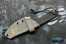 semi-custom ramon chaves camk redemption 2 knife, acid etched, carbon fiber hellbent holster, 3v blade steel, black paracord