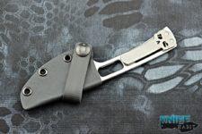semi-custom ramon chaves american made rck 9 fixed blade knife, skull clip, 3v blade steel