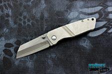 custom tim curry venator knife, bacon damascus blade, pharaoh mokuti clip, zirconium pivot collar