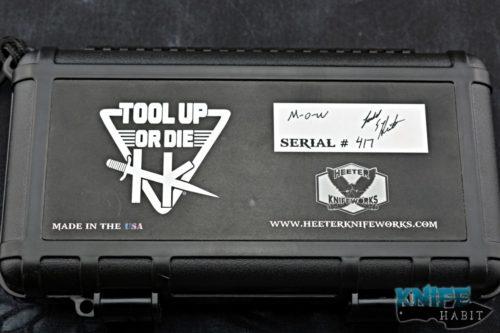 heeter knifeworks m-o-w man-o-war knife, acid wash 3v blade steel, anodized milled titanium handle