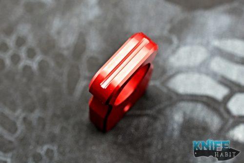 custom north shore kustoms nsk blue equalizer multitool, knuck, bottle opener, aluminum, red