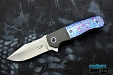 custom chad nell templar flipper knife, kaleidoscope timascus handle, cpm-154 blade steel