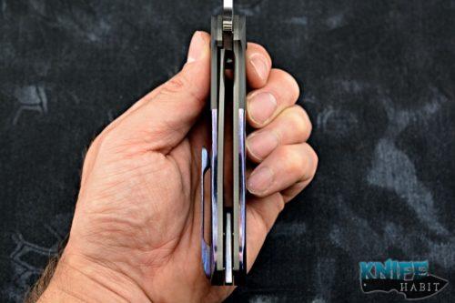 custom chad nell templar flipper knife, kaleidoscope timascus handle, cpm-154 blade steel