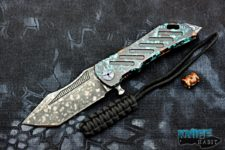 semi-custom darrel ralph ddr dominator xi knife, apocalyptic s35vn blade steel, patina copper handle, black mokuti hardware