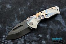 semi-custom greg medford praetorian ti knife, spartan helmet engraved tumbled titanium handle, black pvd d2 blade steel