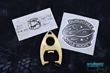 custom michael burch bottle rocket multitool, brass, hypnotic pod design
