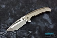 custom peter rassenti satori integral knife, prism triple grind cts-xhp blade steel, zirconium clip