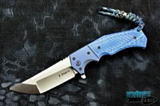custom randy doucette shogun knife, blue twill carbon fiber handle, cpm 20cv blade steel