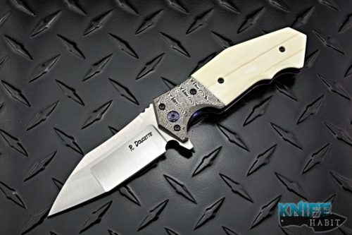 custom randy doucette artillery knife, damasteel bolsters, walrus ivory scales, timascus clip, satin s35vn blade steel