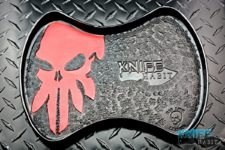 custom bad love leather knife tray, travis poole, red knife skull