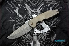 custom peter rassenti ben bawidamann collaboration no name knife, acid etched xhp blade steel, zirconium pivot collars
