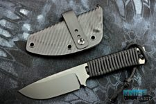 semi-custom ramon chaves CAMK redemption knife, fixed blade, black dlc, hell-bent holsters carbon fiber sheath