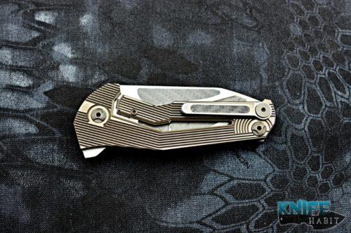 custom mikkel willumsen sugga knife, urban tactical, damascus blade, carbon fiber inlays
