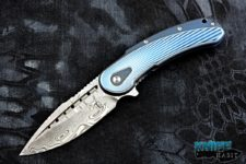 todd begg bodega knife, blue fan pattern handle, damasteel blade