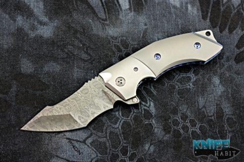 custom allen elishewitz jvo design 2 knife, damascus blade, titanium handle