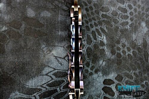 custom todd heeter m-o-w axe choppa knife, black 3v blade, anodized titanium frame