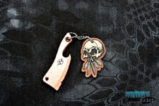 custom wasteland oddities beverage cleaver bottle opener multi-tool, copper, skull tag
