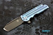 custom alphahunter tactical design dark knife warhorse knife, blue titanium, acid washed 4v blade steel