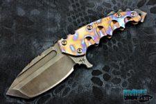 custom todd heeter m-f (er) fixed blade knife, 3v blade steel, skull crusher