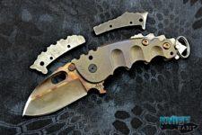 custom todd heeter p-o-w knife, 3v blade steel, skull crushers