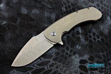 custom rick barrett apocalypse knife, damascus blade, stonewashed frame