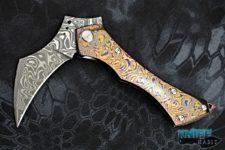 custom sergey rogovets grim reaper knife, mokuti frame, chad nichols damascus blade