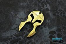 custom adv tactical knuck multitool, gold anodized molon labe spartan helmet