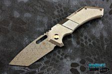 custom noble knives isonadre folder prototype knife, vegas forge raindrop damascus blade, zirconium insert