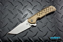 custom geoff blauvelt tuffknives browie knife, tanto cts-xhp blade, gold anodized milled titanium