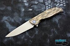 custom igor shirogorov f95 knife, titanium camo tactical flipper, stonewashed m390 blade steel